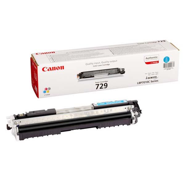 Canon CRG-729 4369B002 azúrový (cyan) originálny toner Originálny toner pre tlačiareň Canon.   Prečo kúpiť našu originálnu náplň?      Originálny toner = záruka priamo od výrobcu tlačiarne 100% použitie v tlačiarni - bezproblémové fungovanie s vašou tlačiarňou Použitím originálnej náplne predlžujete životnosť tlačiarne Osvedčená špičková kvalita - vysokokvalitná a spoľahlivá tlač originálnou tlačovou kazetou od prvej do poslednej stránky Trvalé a profesionálne výsledky tlače - dlhodobá udržateľnosť tlače Kratšie zdržanie pri tlači stránok Garancia Vašej spokojnosti pri použití našej originálnej náplne Zabezpečujeme bezplatnú recykláciu originálnych náplní Zlyhanie náplne v menej ako 1% prípadov Jednoduchá a rýchla výmena náplne 4369B002