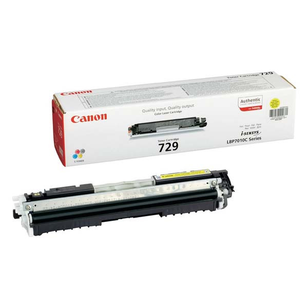 Canon CRG-729 4367B002 žltý (yellow) originálny toner Originálny toner pre tlačiareň Canon.   Prečo kúpiť našu originálnu náplň?      Originálny toner = záruka priamo od výrobcu tlačiarne 100% použitie v tlačiarni - bezproblémové fungovanie s vašou tlačiarňou Použitím originálnej náplne predlžujete životnosť tlačiarne Osvedčená špičková kvalita - vysokokvalitná a spoľahlivá tlač originálnou tlačovou kazetou od prvej do poslednej stránky Trvalé a profesionálne výsledky tlače - dlhodobá udržateľnosť tlače Kratšie zdržanie pri tlači stránok Garancia Vašej spokojnosti pri použití našej originálnej náplne Zabezpečujeme bezplatnú recykláciu originálnych náplní Zlyhanie náplne v menej ako 1% prípadov Jednoduchá a rýchla výmena náplne 4367B002