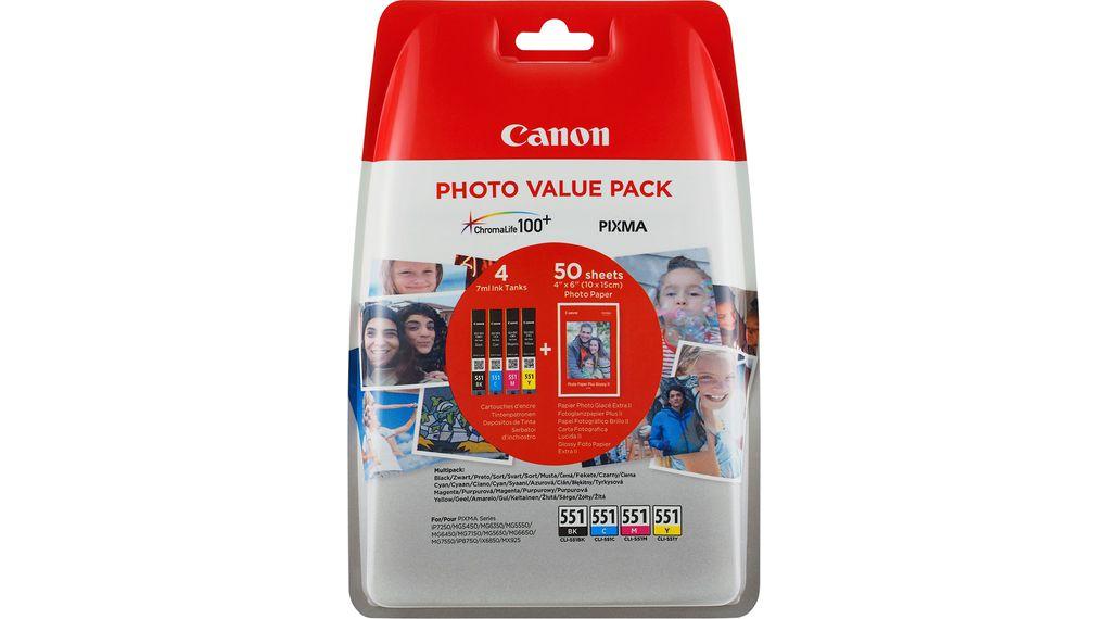 Canon CLI-551 Bk+C+M+Y multipack originální cartridge + fotopapír 50x (10x15)