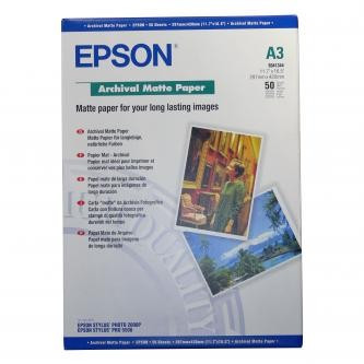 Epson S041344 Archival Matte Paper, bílá, 50, ks C13S041344, pro inkoustové tiskárny, 297x420mm (A3), A