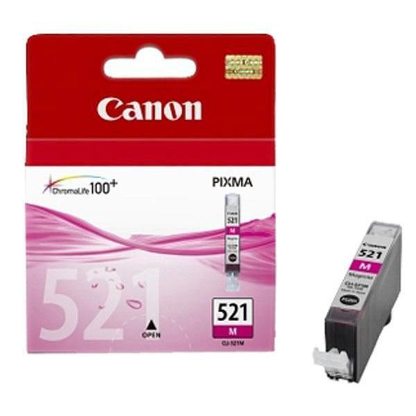 Canon CLI-521M, 2935B001 purpurová (magenta) originálna cartridge Originálne cartridge pre tlačiareň Canon.   Prečo kúpiť našu originálnu náplň Canon?      Originálne cartridge = záruka priamo od výrobcu tlačiarne 100% použitie v tlačiarni - spoľahlivá a bezproblémová tlač Použitím originálnej náplne predlžujete životnosť tlačiarne Osvedčená špičková kvalita - jasný a čitateľný text, jemná grafika, kvalitnejšie obrázky Použitie originálnej kazety ponúka rýchly a vysoký výkon a napriek tomu stabilné výsledky = EFEKTÍVNA TLAČ Jednoduchá inštalácia a údržba Zabezpečujeme bezplatnú recykláciu originálnych náplní Garancia Vašej spokojnosti pri použití našej originálnej náplne 2935B001