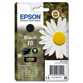 Epson originální ink C13T18014012, T180140, black, 5, 2ml, Epson Expression Home XP-102, XP-402, XP-
