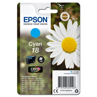 Epson originální ink C13T18024012, T180240, cyan, 3, 3ml, Epson Expression Home XP-102, XP-402, XP-4