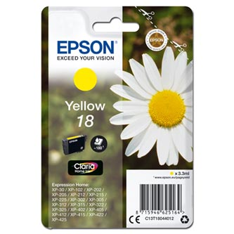 Epson originální ink C13T18044012, T180440, yellow, 3, 3ml, Epson Expression Home XP-102, XP-402, XP