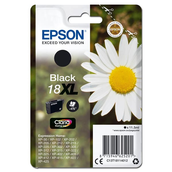 Epson originální ink C13T18114012, T181140, 18XL, black, 11, 5ml, Epson Expression Home XP-102, XP-4