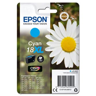 Epson originální ink C13T18124012, T181240, 18XL, cyan, 6, 6ml, Epson Expression Home XP-102, XP-402