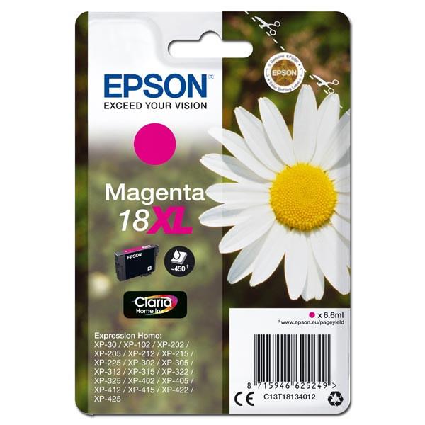 Epson 18XL T1813 purpurová (magenta) originálna cartridge Originálne cartridge pre tlačiareň Epson.   Prečo kúpiť našu originálnu náplň Epson?      Originálne cartridge = záruka priamo od výrobcu tlačiarne 100% použitie v tlačiarni - spoľahlivá a bezproblémová tlač Použitím originálnej náplne predlžujete životnosť tlačiarne Osvedčená špičková kvalita - jasný a čitateľný text, jemná grafika, kvalitnejšie obrázky Použitie originálnej kazety ponúka rýchly a vysoký výkon a napriek tomu stabilné výsledky = EFEKTÍVNA TLAČ Jednoduchá inštalácia a údržba Zabezpečujeme bezplatnú recykláciu originálnych náplní Garancia Vašej spokojnosti pri použití našej originálnej náplne C13T18134012
