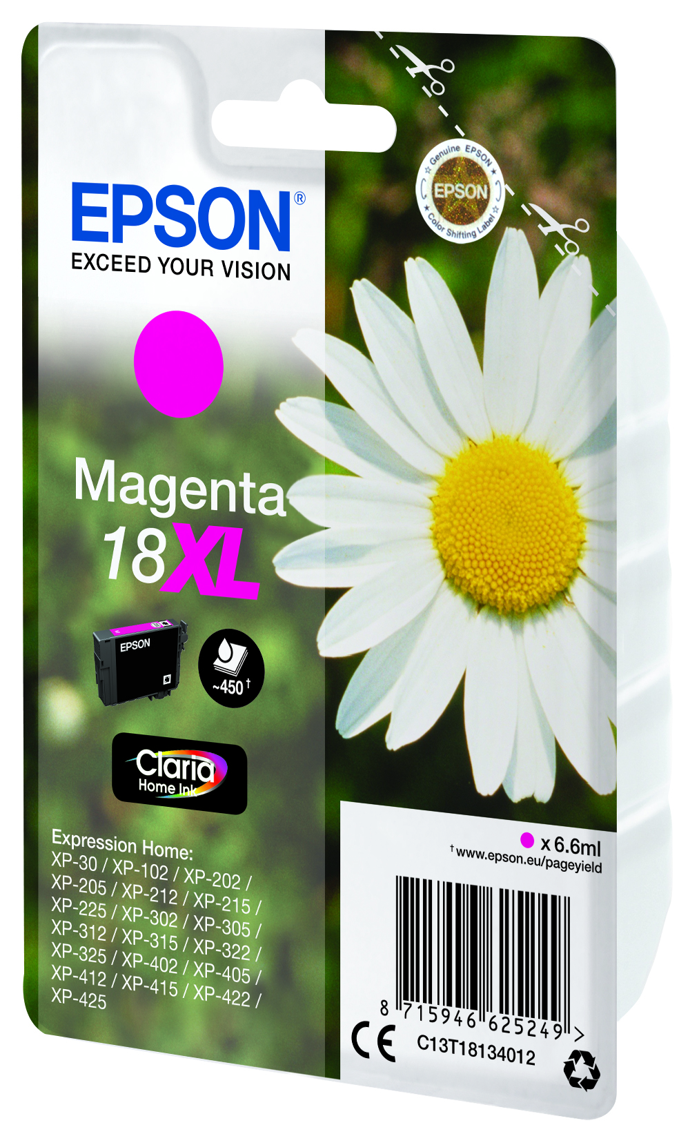 Epson originální ink C13T18134022, T181340, 18XL, magenta, 6, 6ml, Epson Expression Home XP-102, XP-