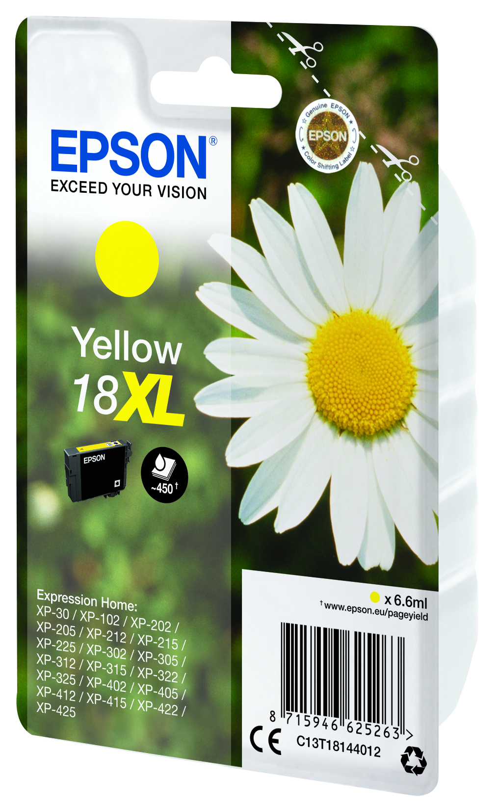 Epson originální ink C13T18144022, T181440, 18XL, yellow, 6, 6ml, Epson Expression Home XP-102, XP-4