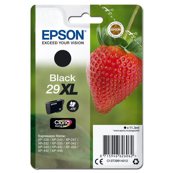 Epson originální ink C13T29914012, T29XL, black, 11, 3ml, Epson Expression Home XP-235, XP-332, XP-335, XP-432, XP-435