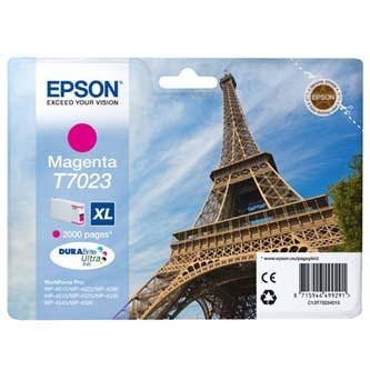 Epson T70234010 purpurová (magenta) originálna cartridge Originálne cartridge pre tlačiareň Epson.   Prečo kúpiť našu originálnu náplň Epson?      Originálne cartridge = záruka priamo od výrobcu tlačiarne 100% použitie v tlačiarni - spoľahlivá a bezproblémová tlač Použitím originálnej náplne predlžujete životnosť tlačiarne Osvedčená špičková kvalita - jasný a čitateľný text, jemná grafika, kvalitnejšie obrázky Použitie originálnej kazety ponúka rýchly a vysoký výkon a napriek tomu stabilné výsledky = EFEKTÍVNA TLAČ Jednoduchá inštalácia a údržba Zabezpečujeme bezplatnú recykláciu originálnych náplní Garancia Vašej spokojnosti pri použití našej originálnej náplne C13T70234010