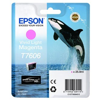Epson T7606 T76064010 svetle purpurová (light magenta) originálna cartridge Originálne cartridge pre tlačiareň Epson.   Prečo kúpiť našu originálnu náplň Epson?      Originálne cartridge = záruka priamo od výrobcu tlačiarne 100% použitie v tlačiarni - spoľahlivá a bezproblémová tlač Použitím originálnej náplne predlžujete životnosť tlačiarne Osvedčená špičková kvalita - jasný a čitateľný text, jemná grafika, kvalitnejšie obrázky Použitie originálnej kazety ponúka rýchly a vysoký výkon a napriek tomu stabilné výsledky = EFEKTÍVNA TLAČ Jednoduchá inštalácia a údržba Zabezpečujeme bezplatnú recykláciu originálnych náplní Garancia Vašej spokojnosti pri použití našej originálnej náplne C13T76064010