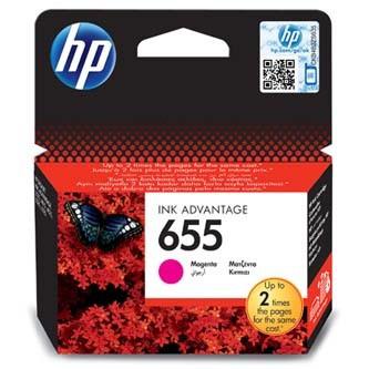 HP 655 CZ111AE purpurová (magenta) originálna cartridge Originálne cartridge pre tlačiareň HP.   Prečo kúpiť našu originálnu náplň HP?      Originálne cartridge = záruka priamo od výrobcu tlačiarne 100% použitie v tlačiarni - spoľahlivá a bezproblémová tlač Použitím originálnej náplne predlžujete životnosť tlačiarne Osvedčená špičková kvalita - jasný a čitateľný text, jemná grafika, kvalitnejšie obrázky Použitie originálnej kazety ponúka rýchly a vysoký výkon a napriek tomu stabilné výsledky = EFEKTÍVNA TLAČ Jednoduchá inštalácia a údržba Zabezpečujeme bezplatnú recykláciu originálnych náplní Garancia Vašej spokojnosti pri použití našej originálnej náplne CZ111AE#BHK