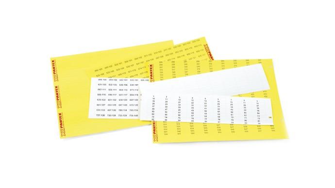 Partex štítky PF-07533KT9, 7,5 x 33 mm, bílé, 100 ks, A4, 1 list