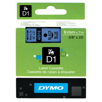 Dymo D1 40916, S0720710, 9mm x 7m čierna tlač / modrý podklad, originálna páska Originálna páska pre štítkovač Dymo. Prečo kúpiť našu originálnu pásku Dymo D1?    Originálna kazeta s páskou = záruka kvality priamo od výrobcu tlačiarne štítkov 100% použitie so štítkovačom - bezproblémové fungovanie Originálne samolepiace pásky Dymo D1 zaručujú veľmi jednoduchú aplikáciu Osvedčen