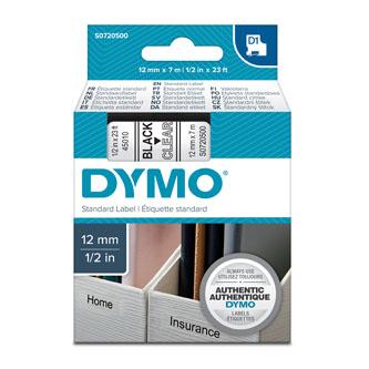 Dymo D1 45010, S0720500, 12mm x 7m čierna tlač / priehľadný podklad, originálna páska Originálna páska pre štítkovač Dymo. Prečo kúpiť našu originálnu pásku Dymo D1?    Originálna kazeta s páskou = záruka kvality priamo od výrobcu tlačiarne štítkov 100% použitie so štítkovačom - bezproblémové fungovanie Originálne samolepiace pásky Dymo D1 zaručujú veľmi jednoduchú aplikáciu Osvedčen