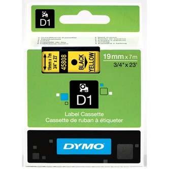 Dymo D1 45808, S0720880, 19mm x 7m, čierna tlač/žltý podklad, originálna páska Originálna páska pre štítkovač Dymo. Prečo kúpiť našu originálnu pásku Dymo D1?    Originálna kazeta s páskou = záruka kvality priamo od výrobcu tlačiarne štítkov 100% použitie so štítkovačom - bezproblémové fungovanie Originálne samolepiace pásky Dymo D1 zaručujú veľmi jednoduchú aplikáciu Osvedčen