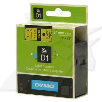 Dymo D1 53718, S0720980, 24 mm x 7 m, čierna tlač/žltý podklad, originálna páska Originálna páska pre štítkovač Dymo. Prečo kúpiť našu originálnu pásku Dymo D1?    Originálna kazeta s páskou = záruka kvality priamo od výrobcu tlačiarne štítkov 100% použitie so štítkovačom - bezproblémové fungovanie Originálne samolepiace pásky Dymo D1 zaručujú veľmi jednoduchú aplikáciu Osvedčen