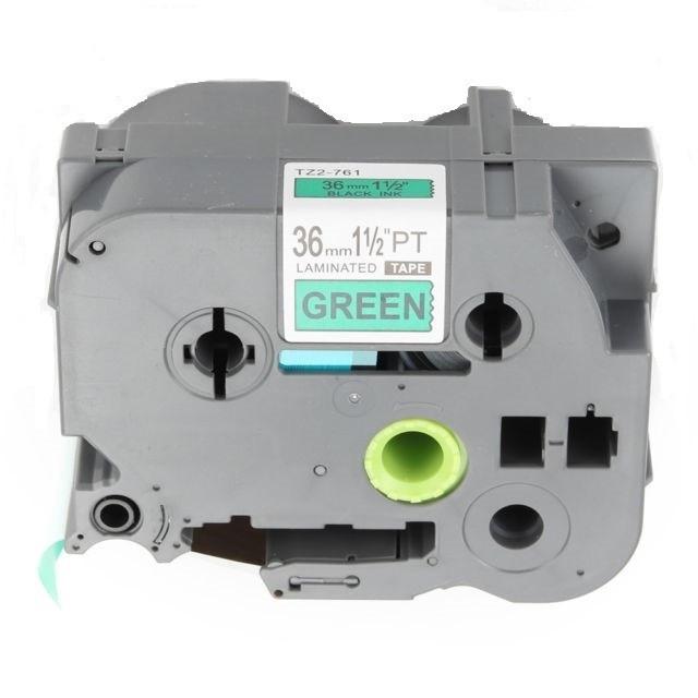 Levně Kompatibilní páska s Brother TZ-761 / TZe-761, 36mm x 8m, černý tisk / zelený podklad