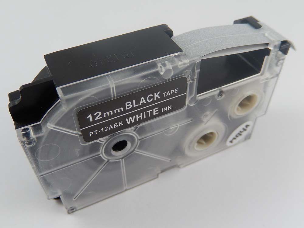 Levně Kompatibilní páska s Casio XR-12ABK, 12mm x 8m bílý tisk / černý podklad