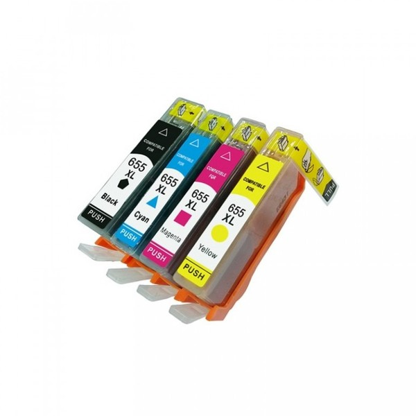 HP 655XL Bk+C+M+Y multipack kompatibilní cartridge