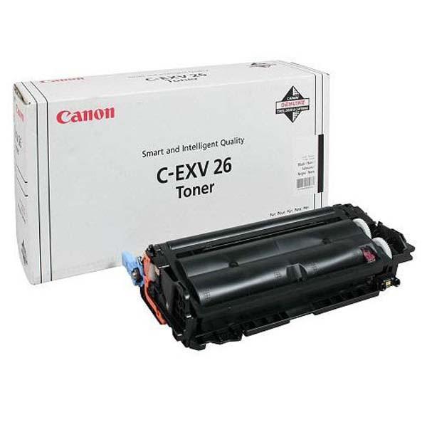 Canon C-EXV26 čierný (black) originálny toner Originálny toner pre tlačiareň Canon.   Prečo kúpiť našu originálnu náplň?      Originálny toner = záruka priamo od výrobcu tlačiarne 100% použitie v tlačiarni - bezproblémové fungovanie s vašou tlačiarňou Použitím originálnej náplne predlžujete životnosť tlačiarne Osvedčená špičková kvalita - vysokokvalitná a spoľahlivá tlač originálnou tlačovou kazetou od prvej do poslednej stránky Trvalé a profesionálne výsledky tlače - dlhodobá udržateľnosť tlače Kratšie zdržanie pri tlači stránok Garancia Vašej spokojnosti pri použití našej originálnej náplne Zabezpečujeme bezplatnú recykláciu originálnych náplní Zlyhanie náplne v menej ako 1% prípadov Jednoduchá a rýchla výmena náplne 1660B006