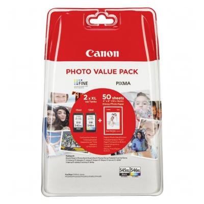 Canon PG-545XL + CL-546XL sada originální cartridge + fotopapír 50x (10x15)
