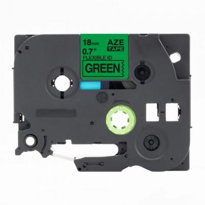 Kompatibilní páska s Brother TZ-FX741 / TZe-FX741, 18mm x 8m, flexi, černý tisk /zelený po