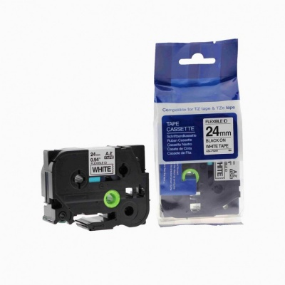Kompatibilní páska s Brother TZ-FX251/TZe-FX251, 24mm x 8m, flexi, černý tisk/bílý podklad