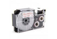 Kompatibilní páska s Casio XR-18WER 18mm x 8m červený tisk / bílý podklad