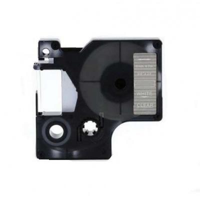 Kompatibilní páska s Dymo 40920, 9mm x 7m, bílý tisk / průhledný podklad