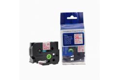 Kompatibilní páska s Brother TZ-252 / TZe-252, 24mm x 8m, červený tisk / bílý podklad