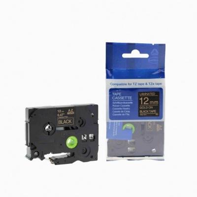 Kompatibilní páska s Brother TZ-334 / TZe-334, 12mm x 8m, zlatý tisk / černý podklad