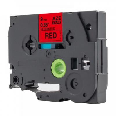 Kompatibilní páska s Brother TZ-FX421 / TZe-FX421, 9mm x 8m, flexi, černý tisk / červený p