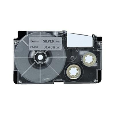 Kompatibilní páska s Casio XR-6SR1 6mm x 8m černý tisk / stříbrný podklad