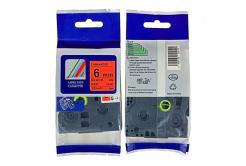 Kompatibilní páska s Brother TZ-411 / TZe-411, 6mm x 8m, černý tisk / červený podklad