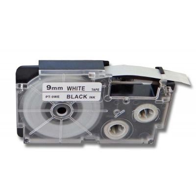 Casio R5WE (XR-9HSWE), 9mm x 2m, černý tisk / bílý podklad, smršťovací, kompatibilní páska