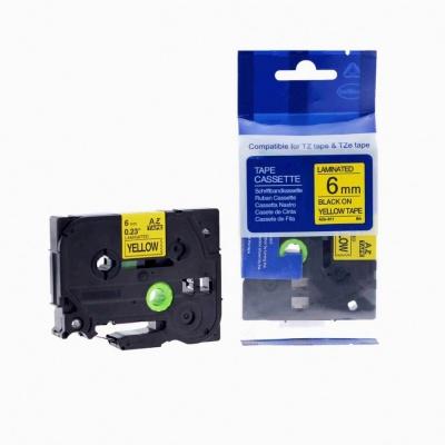 Kompatibilní páska s Brother TZ-611 / TZe-611, 6mm x 8m, černý tisk / žlutý podklad