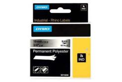 Dymo Rhino 18487, 19mm x 5.5m, černý tisk/metalický podklad, originální páska