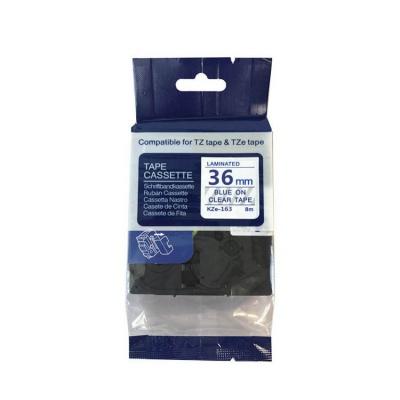 Kompatibilní páska s Brother TZ-163 / TZe-163, 36mm x 8m, modrý tisk / průhledný podklad