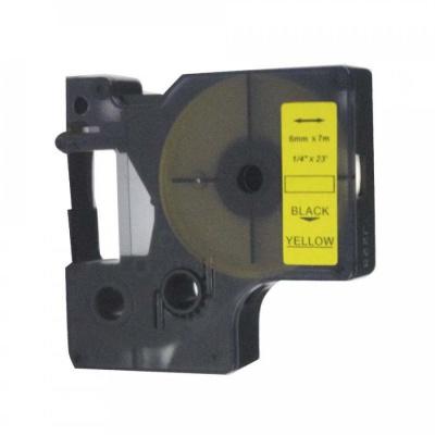 Kompatibilní páska s Dymo 43618, S0720790, 6mm x 7m, černý tisk / žlutý podklad