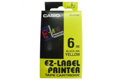 Casio XR-6YW1, 6mm x 8m, černý tisk/žlutý podklad, originální páska