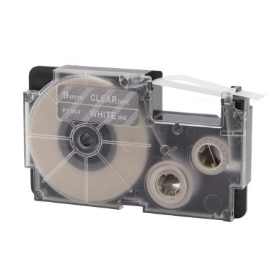 Casio XR-9AX, 9mm x 8m černý tisk / průhledný podklad, kompatibilní páska
