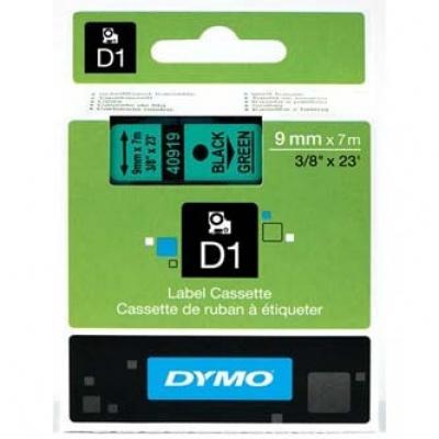Dymo D1 40919, S0720740, 9mm x 7m černý tisk / zelený podklad, originální páska