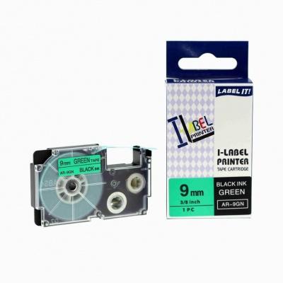 Kompatibilní páska s Casio XR-9GN1, 9mm x 8m černý tisk / zelený podklad