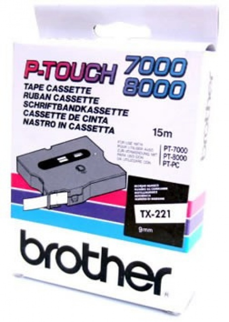 Brother TX-221, 9mm x 8m, czarny druk / biały podkład, taśma oryginalna