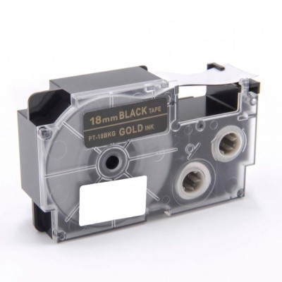 Kompatibilní páska s Casio XR-18BKG 18mm x 8m zlatý tisk / černý podklad