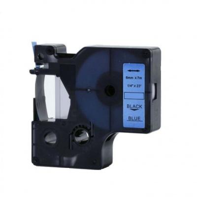 Kompatibilní páska s Dymo 43616, 6mm x 7m, černý tisk / modrý podklad