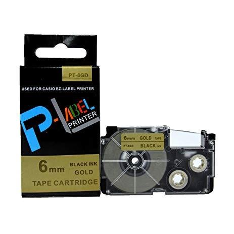 Kompatibilní páska s Casio XR-6GD1 6mm x 8m černý tisk / zlatý podklad
