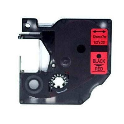 Kompatibilní páska s Dymo 45017, S0720570, 12mm x 7m černý tisk / červený podklad